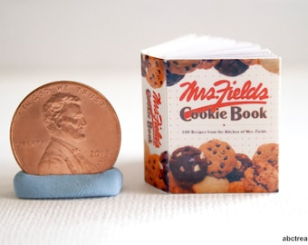 Miniature Cookbook, Mrs. Fields Cookie Book, Kitchen Baking, Chocolate, 1:12 Scale Handmade Miniature Bakery