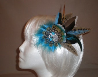 Teal and Brown Feather Hair Piece