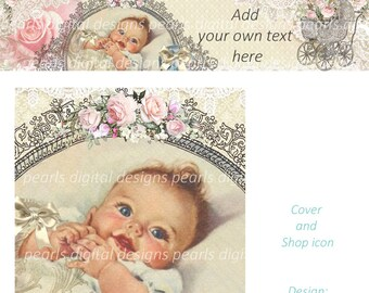 Vintage Lace Baby, Cover and Shop Icon, Instant download, Blank file, baby, vintage theme, cute, roses, carriage, lace, smiling child, crib