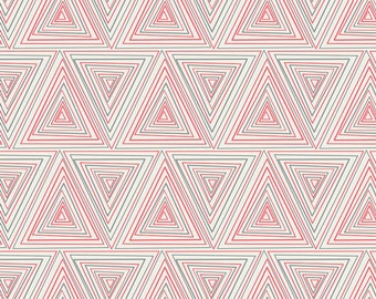 Modern Fabric by the Yard, Geometric Fabric,  Minimalista Prisma in Watermelon, Art Gallery Fabrics, Triangle Fabric, Pink Quilting Fabric