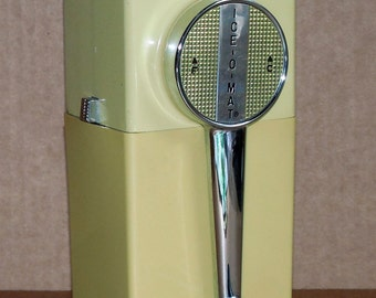 Vtg 1950s Ice O Mat Ice Crusher Chrome w Yellow Base Wall Mounts Table Top Ice Crusher Mid Century Retro