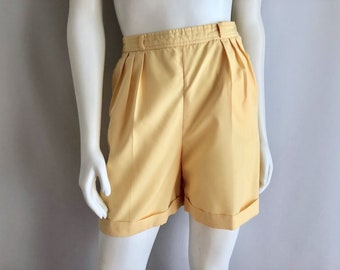 Vintage Women's 80's Lemon Yellow, Pleated Shorts, High Waisted by Condor (M)