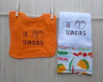 I Heart Tacos Baby Bib & Burp Cloth Set - Taco Baby Bib - Foodie Baby Bib - Baby Chef Bib - Taco Bibs