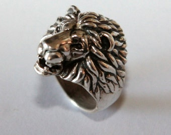 lion head ring. Silver 925
