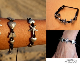 Bracelet, Brown, Black, Cord, Silver, Unisex, Ethnic, Hippie, Boho, Gypsy, Festival, Ibiza Style, Charms, Jewellery