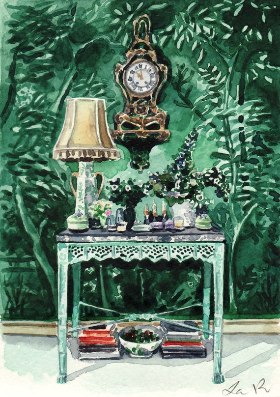 Green Chinoiserie Room Interior Art Interior Design Print