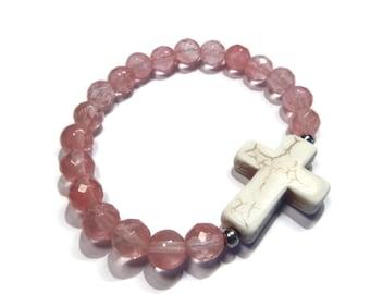 Southwest - Pink/White Bracelet - Watermelon Quartz Stretch Stacking Bracelet with Gemstone Cross - Mishimon Designs