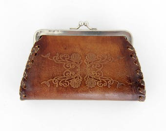 Vintage tool leather kiss lock coin purse