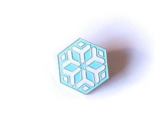 Mei Snowflake Brass Enamel Pin