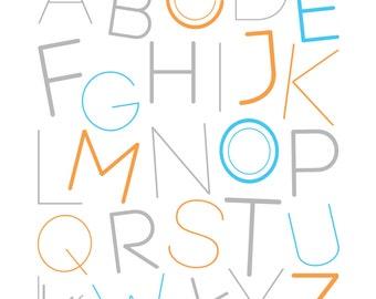 Modern, Alphabet Poster - Digital PDF File - Any Size