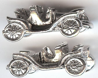 ANTIQUE CAR Charm. Silver Plated Pewter. 3D Model T Ford. Chevrolet. Reo. Oldsmobile. Automobile. Made in the USA. wui