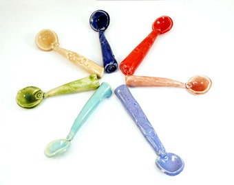 Ceramic spoon for salt, sugar, spices  tea, ceramics and pottery, handmade teaspoon, 9th anniversary gift, pottery spoon, scoop