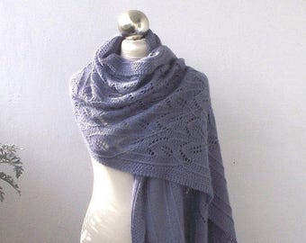 Greyish Violet-Purple hand knitted alpaca stole ,hand knit shawl