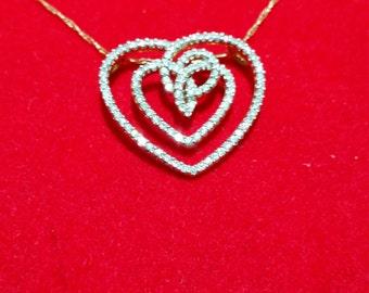 Valentine's Heart Shaped 14k Yellow Gold Genuine Diamond Pendant