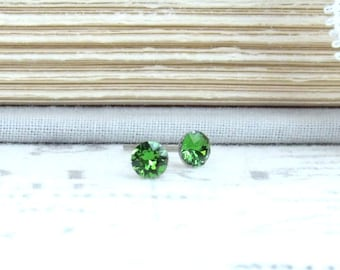 Green Studs 4mm Earrings Small Studs Crystal Stud Earrings Tiny Green Studs Surgical Steel