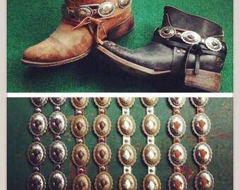 Single Concho Leather Boot Strap