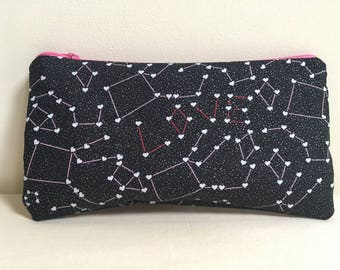 Notions Bag, Notions Pouch, Pencil Case, Phone purse, Makeup Bag, Valentines Day, Love, Constellation