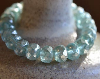 10 Aqua Blue & Mercury Finish 8x6mm- Czech Faceted Rondelle Beads- Icy Waters (734-10)