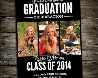 3 Image Graduation Announcement or Party Invitation 5x7 black -you print