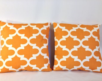 """SET of 2, Orange and White Lattice Trellis 'Fynn Cinnamon' Accent Pillow Covers With Zippers, 18"""" X 18"""""""