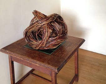 willow woven sculpture // abstract original artwork with flowing lines creating complex swirls // focal point for decor and interior design