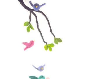 bird mobile, nursery mobile, woodland nursery, baby mobile, crib mobile, cloud mobile,