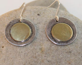 Sterling Silver Earrings with Brass Overlay (100917-006)