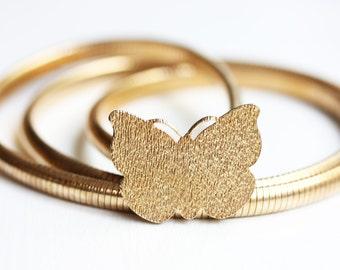 Gold Butterfly Belt, Butterfly Belt, Gold Belt, Metal Belt, Gold Snake Belt, Gold Stretch Belt, XS Belt