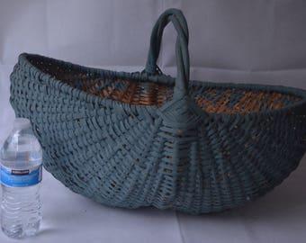 """eb1873 HUGE Vintage Antique LARGE Green Harvest Basket Approx 21"""" x 14"""""""