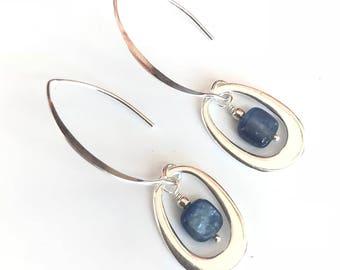 Denim Blue Silver Earrings / Kyanite Earrings / Denim Blue Kyanite and Sterling Silver Earrings