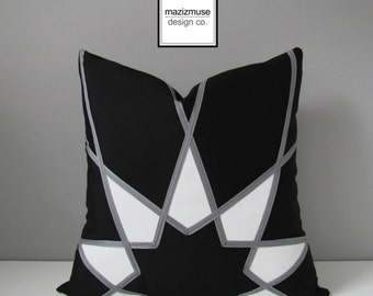 Decorative Black & White Outdoor Pillow Cover, Modern Geometric Pillow Cover, Grey Pillow Cover, Art Deco Pillow Cover, Mandala, Mazizmuse