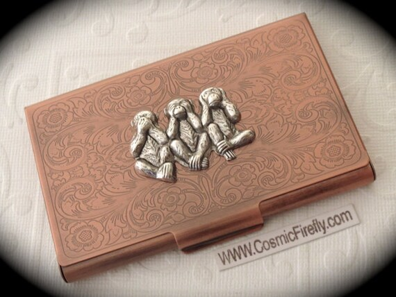 Copper business card case silver monkeys steampunk card case like this item colourmoves Gallery