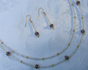 Lavender Necklace and Earrings Set