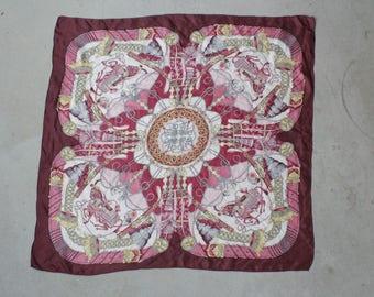 Vintage silk novelty scarf - 70's Horse Motif Silk Wrap Scarf