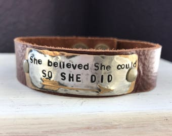 She believed She could SO SHE DID, arrow, hand stamped leather cuff bracelet,  affirmation ~ mantra ~ inspirational ~ gift idea, gift idea
