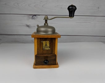 Vintage Trosser Coffee Grinder Mill Wooden Made in Germany Two Tone Wood