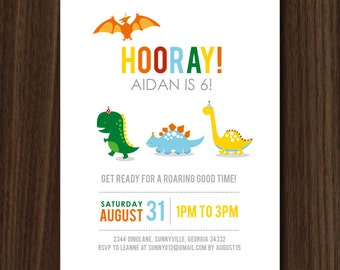 DIGITAL FILE Dino Parade Birthday Invitation, Modern Dinosaur Birthday Invitation, Dino Invite 5x7