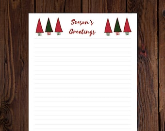 INSTANT DOWNLOAD: Season's Greetings Christmas Printable Stationery for fans of Xmas, Holidays, Winter, and Writing - Digital Download