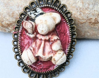 teddy bear, pendant frame, for jewel, for DIY, pink and red bear