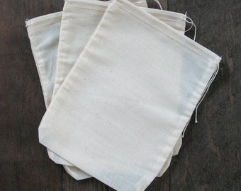 50 6x8 Natural Cotton Muslin Drawstring Bags