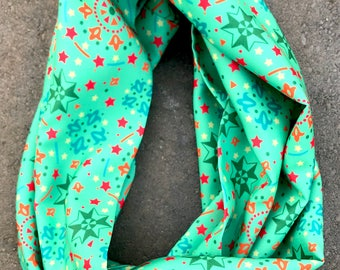 "Silk Infinity Scarf- ""Celebration in Green"" 52"" circumference"