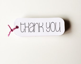 "White Thank You Tags - 3"" Thank You Favor Tags - All Purpose Thank You Tags"