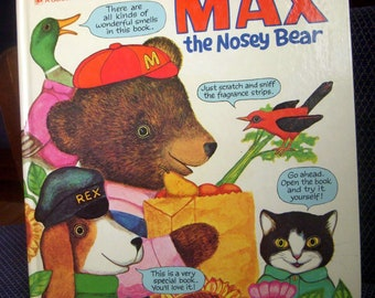 Max the Nosey Bear, A Golden Fragrance Book, Scratch and Sniff, Katherine Howard, 1972 Vintage Children's Book