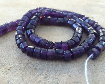 Amethyst Disk Beads, Faceted Amethyst Wheel Beads, Faceted Amethyst Beads, 13 1/2 inch strand, 6mm