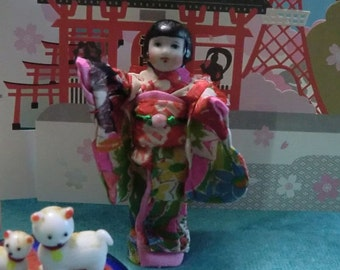 SALE!! Miniature Dollhouse Porcelain Japanese Doll in Silk Kimono Rare & Fab
