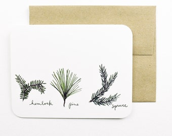 Evergreens card (hemlock, pine, spruce) with envelope | Hemlock | Pine | Spruce | Evergreen | Holiday card | Greeting card