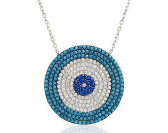 Turquoise Evil Eye Luck Charm Greek Mati Turkish Nazar Hamsa 925 Sterling Silver Necklace