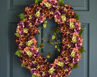 Beautiful Oval Blended Hydrangea Wreath | Front Door Wreaths | Easter Wreath | Hydrangea Wreath | Easter Decor | Housewarming Gift