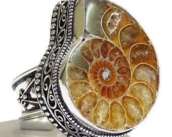 Big Fossil Ammonite Sterling Silver Ring Sz 8