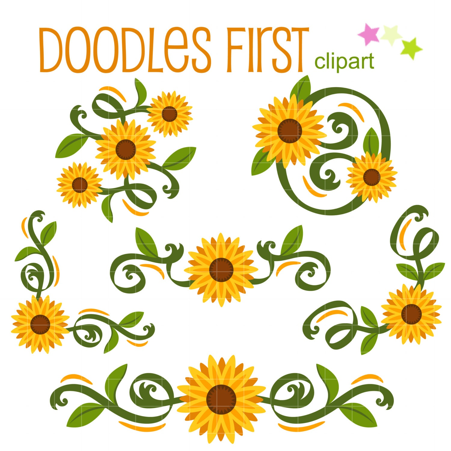 Classic Sunflowers Corners and Borders Digital Clip Art for